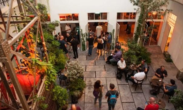 Herzl16's outdoor courtyard space.