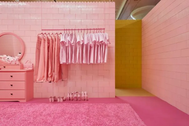 pink room with garment rack, pink clothes, dresser and vanity, and even pink shoes