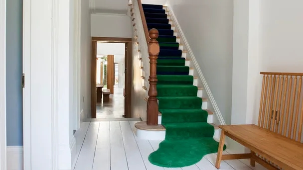 All You Need To Add A Stair Runner Is A Rug And A Staple Gun | Carpet On Tread Only | Wood Stairs | Risers | Stair Tread | Hardwood | Staircase