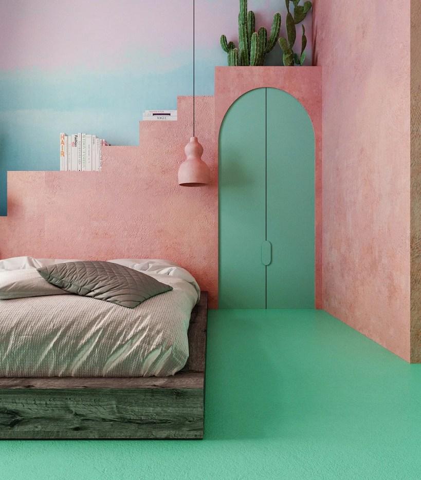 Bedroom in green and pink tones.