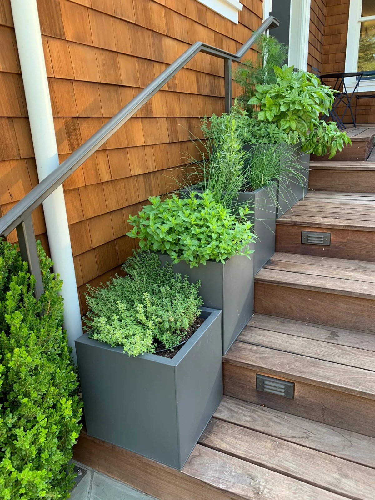 Herb planters line the steps of this decka perfect solution for growing food in a small space close to the kitchen.