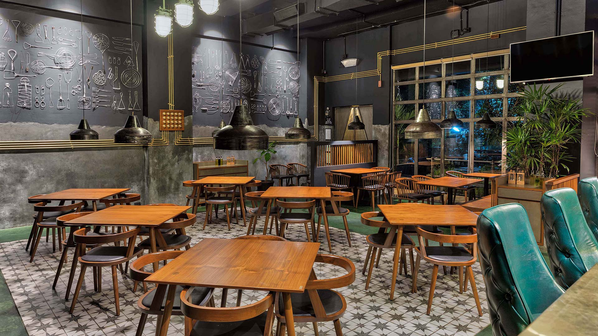 Punes Barometer restaurant champions concrete in its interior design
