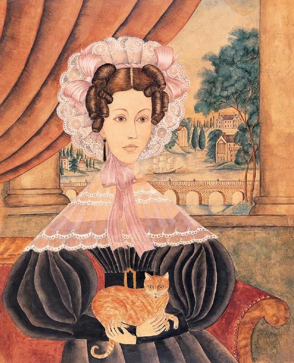 American Primitive Folk Art Painting Portraits
