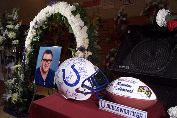a-commemorative-display-was-set-up-by-the-indianapolis-colts-at-the-funeral-of-brandon-burlsworth-in-harrison-on-saturday-may-1-1999