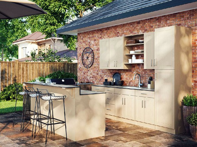 AT HOME Outfitting a lowcost assembled outdoor kitchen