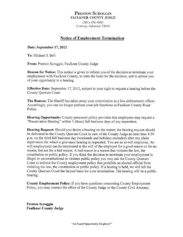 Notice of Employee Termination   NWAonline