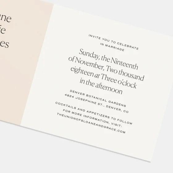 Colorblock Wedding Invitation