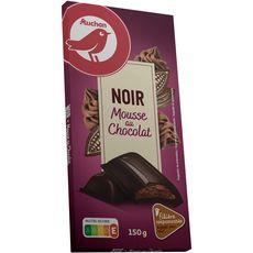 auchan tablette chocolat noir mousse au