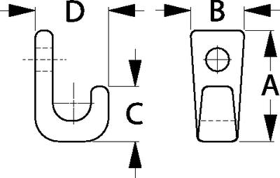 Sea-Dog Line 671425-1 Lashing Hook 1-Hole Blk 5pk