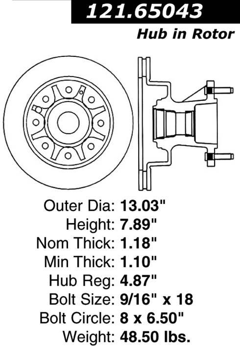 centric 121_65043 Econoline Club Wagon Brake Disc