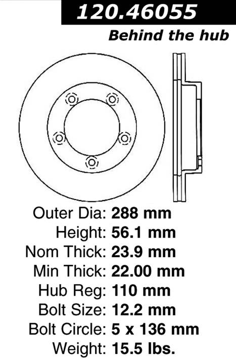 Centric Parts 120.46055 Premium Brake Rotor with E-Coating