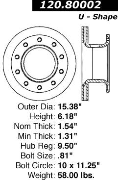 Centric Parts 120.80002 Premium Brake Rotor with E-Coating
