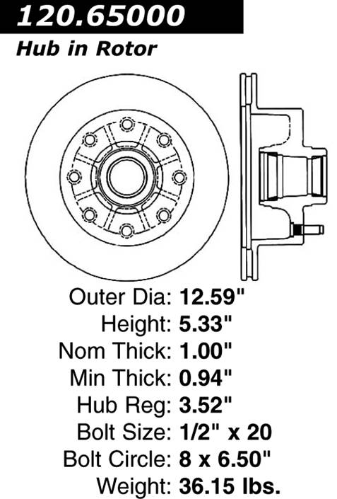 Centric Parts 120.65000 Premium Brake Rotor with E-Coating