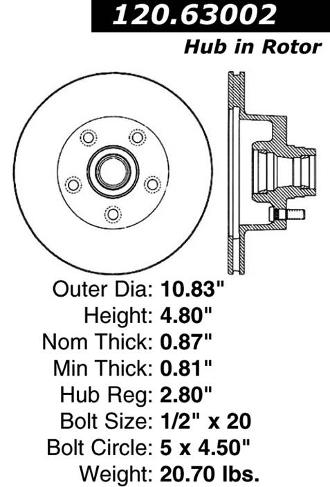 Centric Parts 120.63002 Premium Brake Rotor with E-Coating
