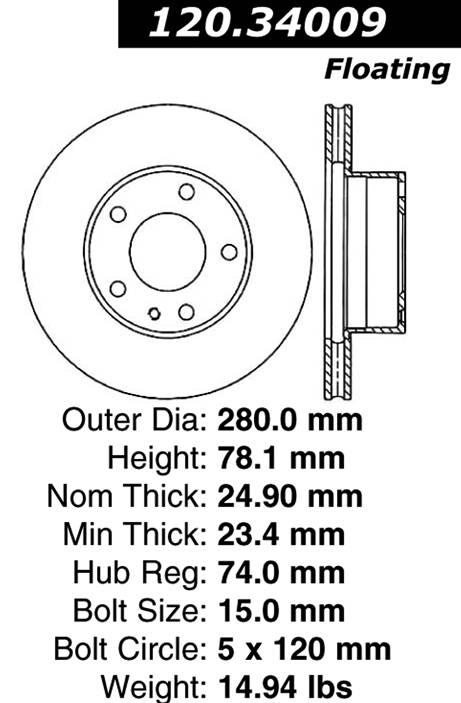 centric Parts 120.34009 Premium Brake Rotor With E-Coating