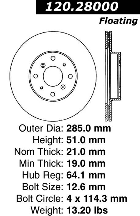 centric Parts 120.28000 Premium Brake Rotor With E-Coating