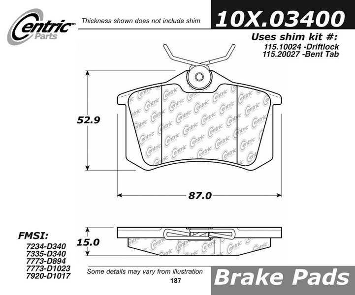 Centric Parts 109.03400 109 Series Axxis Deluxe Plus Brake