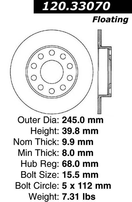 Centric Parts 120.33070 Premium Brake Rotor with E-Coating