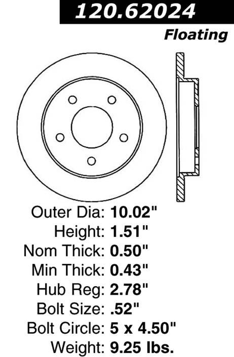 centric 120.62024 Centric Parts 120.62024 Premium Brake