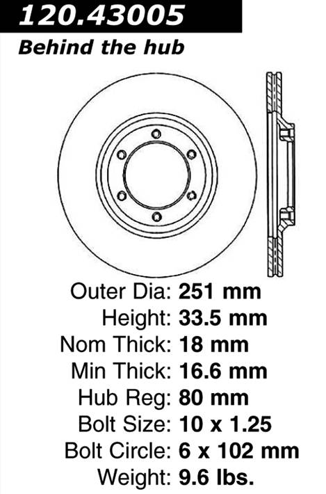 centric Parts 120.43005 Premium Brake Rotor With E-Coating