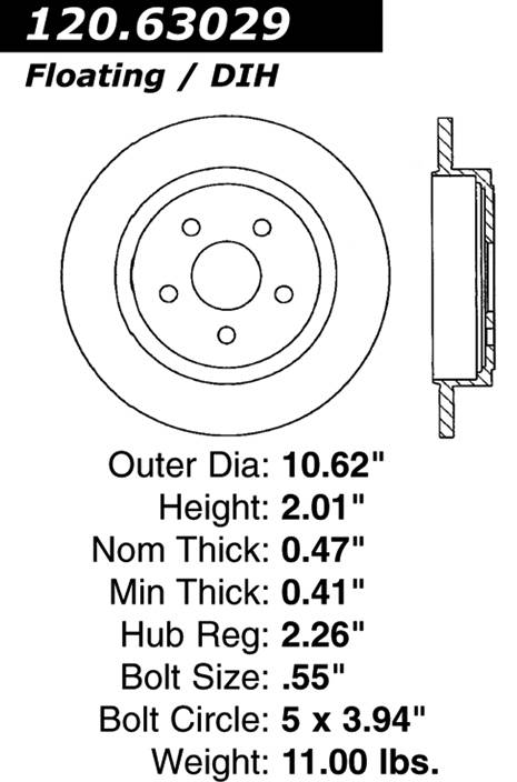 centric Parts 120.63029 Premium Brake Rotor With E-Coating