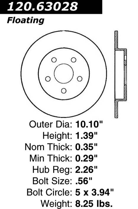 centric Parts 120.63028 Premium Brake Rotor With E-Coating