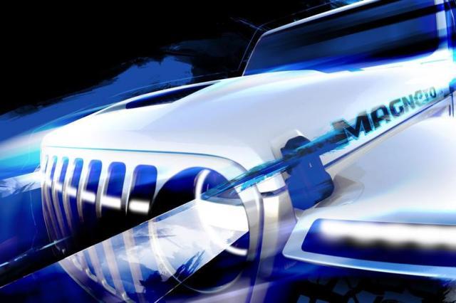 Elektrische Jeep Wrangler Magneto Concept in beeld