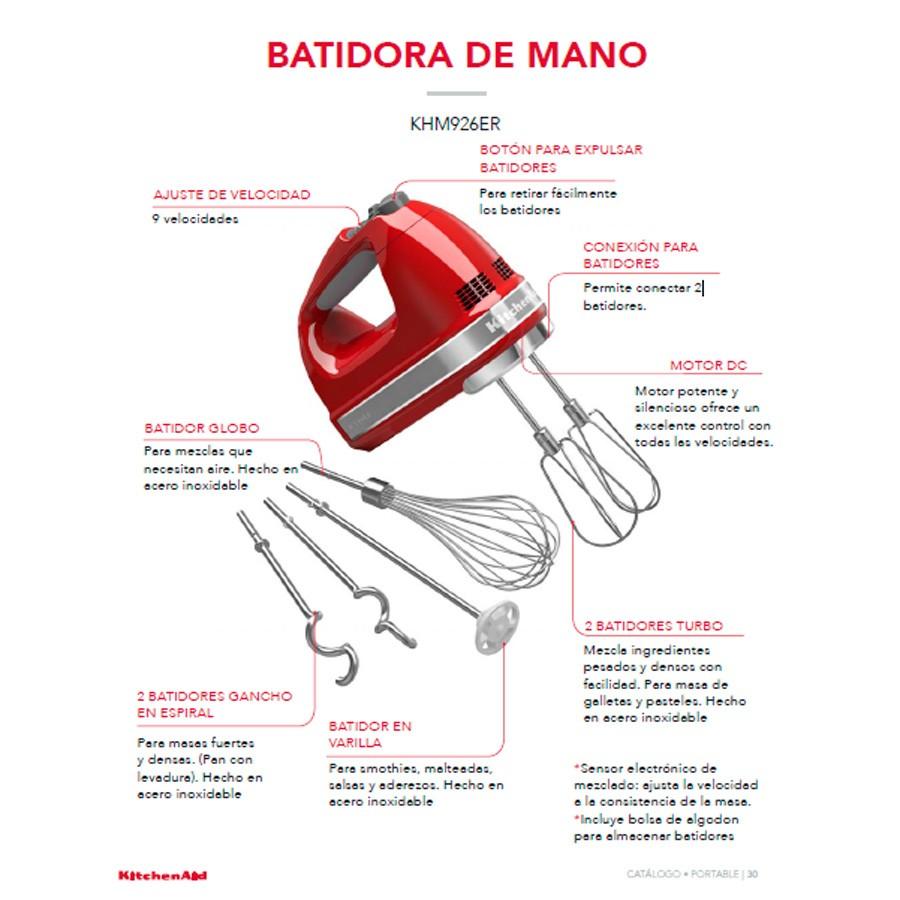 Batidora De Mano KITCHENAID 9 Velocidades Rojo Ktronix