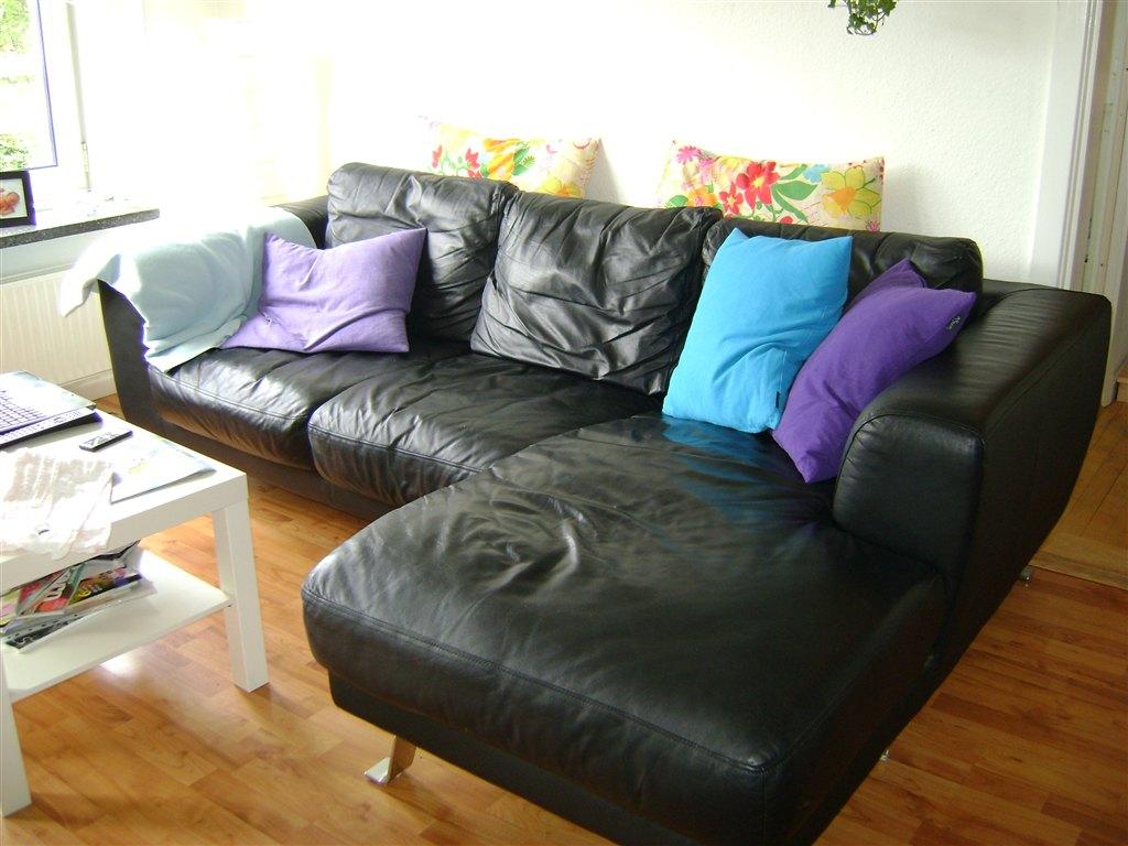 sofa billigt til salg modernform bed sort lædersofa sælges