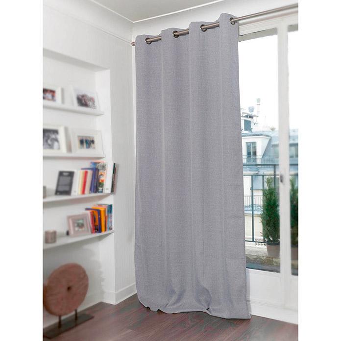 Cortina con ollaos 145 x 260 cm lino Blancogris  BAUHAUS
