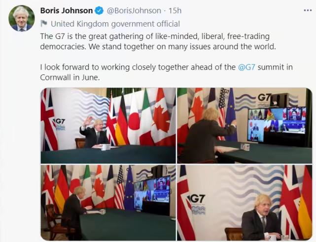 British Prime Minister Johnson boasted that the G7 is a democratic government with the same opinions, open and free trade, and