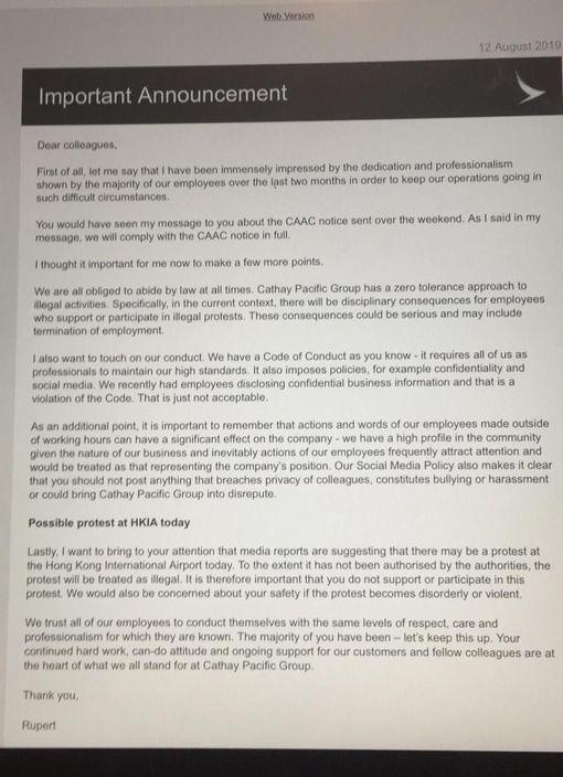 國泰CEO向員工發信警告 參與機場非法集會或被炒 | 政事
