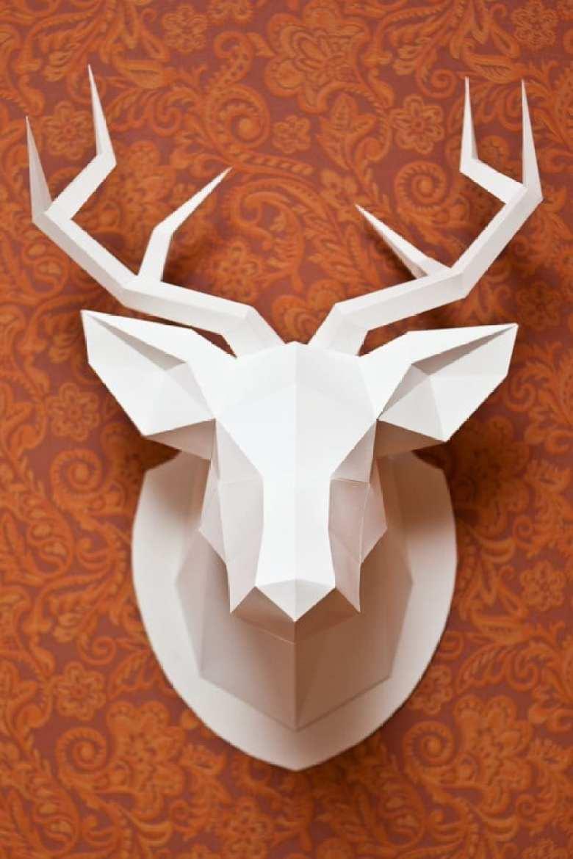 pyssel, pysseltips, pyssla, papper, papperspyssel, pyssla med papper, vika papper, 3D, hjort, hjorthuvud, 3D trofé