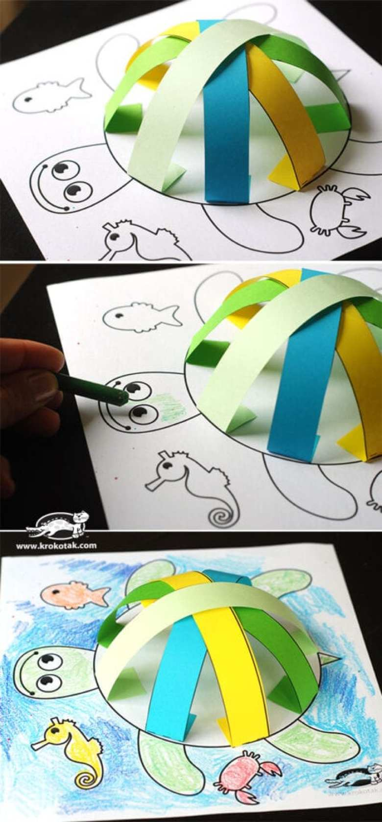 pyssel, pysseltips, pyssla, papper, papperspyssel, pyssla med papper, målarbild, målarbild för barn, sköldpadda