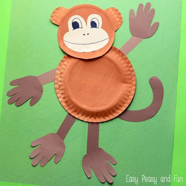 barnpyssel, pyssel för barn, pyssel, enkelt pyssel, pysseltips, pysselidé, papperspyssel, papper, djungeldjur, apa, papperstallrikar