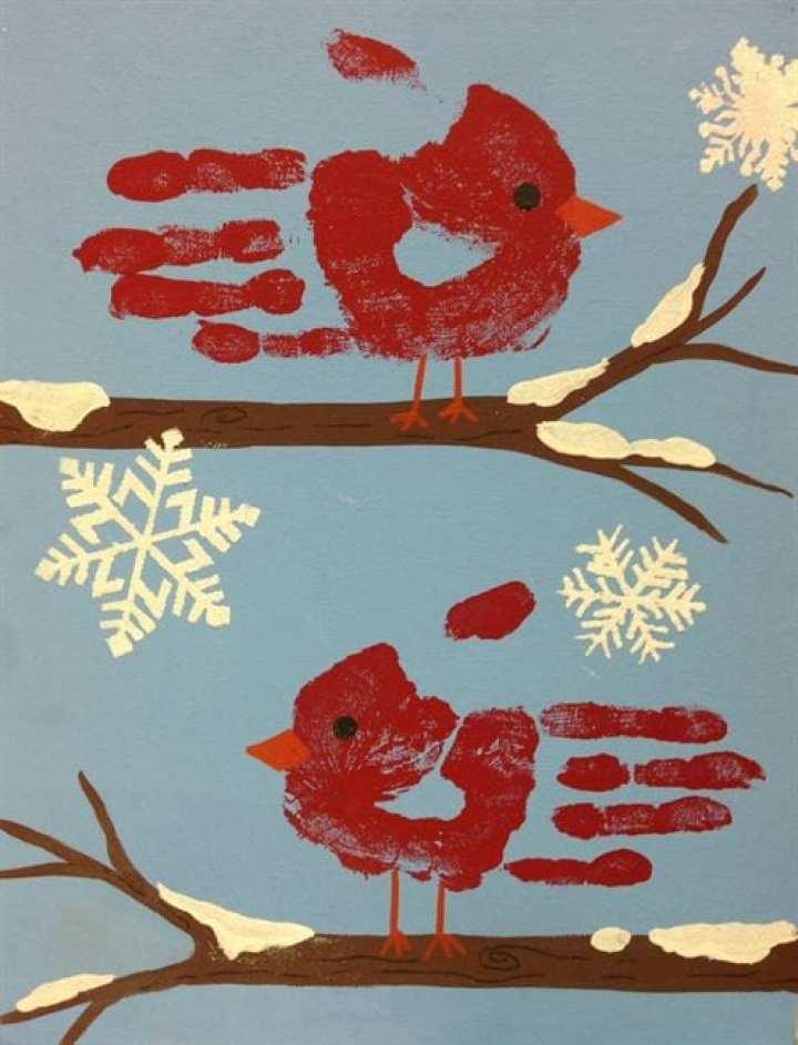 pyssel, pysseltips, pysselidé, inspiration, kreativitet, skapa, skapande, barns skapande, vinter, vinterpyssel, pyssla, pyssel för barn, barnpyssel, pyssel för skola, pyssel för förskola, familjepyssel, vinterfågel, vinterfåglar, tryck på papper, handavtryck, avtryck, barns handavtryck, fågel, fåglar, vinterlandskap, vintertavla
