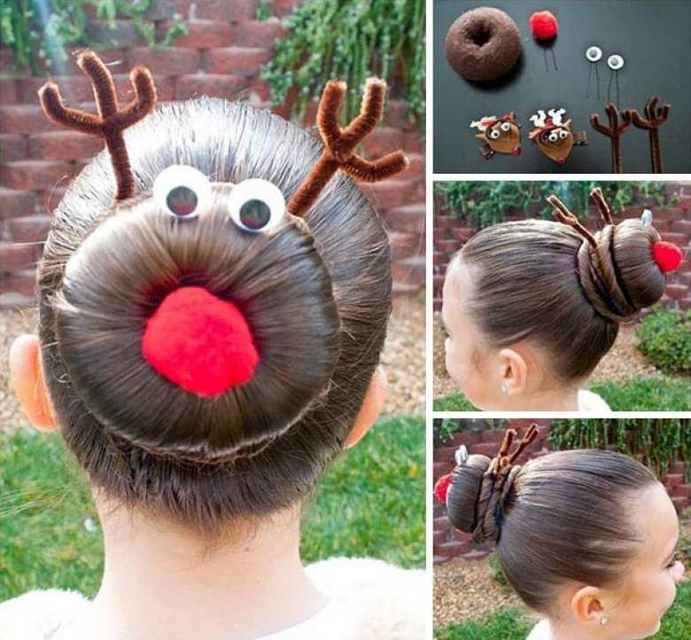 mode, skönhet, julpyssel, jul, julen, julfrisyr, frisyr, frisyrer, julfin, fin i håret, fixa håret, inspiration, hårinspiration, pyssel, kreativitet, snygga frisyrer, styla håret, bulle, knut, snurra, ren, julren, Rudolf med röda mulen