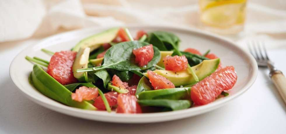 grape, frukt, recept, grapefrukt, sallad, spenat, avokado