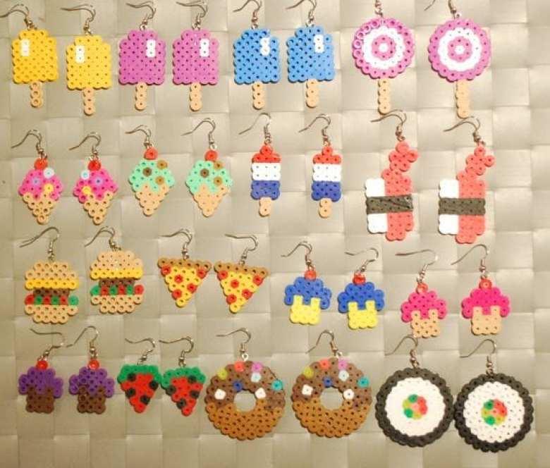 pyssel, pyssla, pysseltips, pysselidé, skapa, smycken, göra smycken, pärla, pärlor, rörpärlor, HAMA, pärlplatta, pärlplattor, mönster, pärlplattemönster, örhängen, mat, glass, cupcake, sushi, pizza, klubba, kawaii