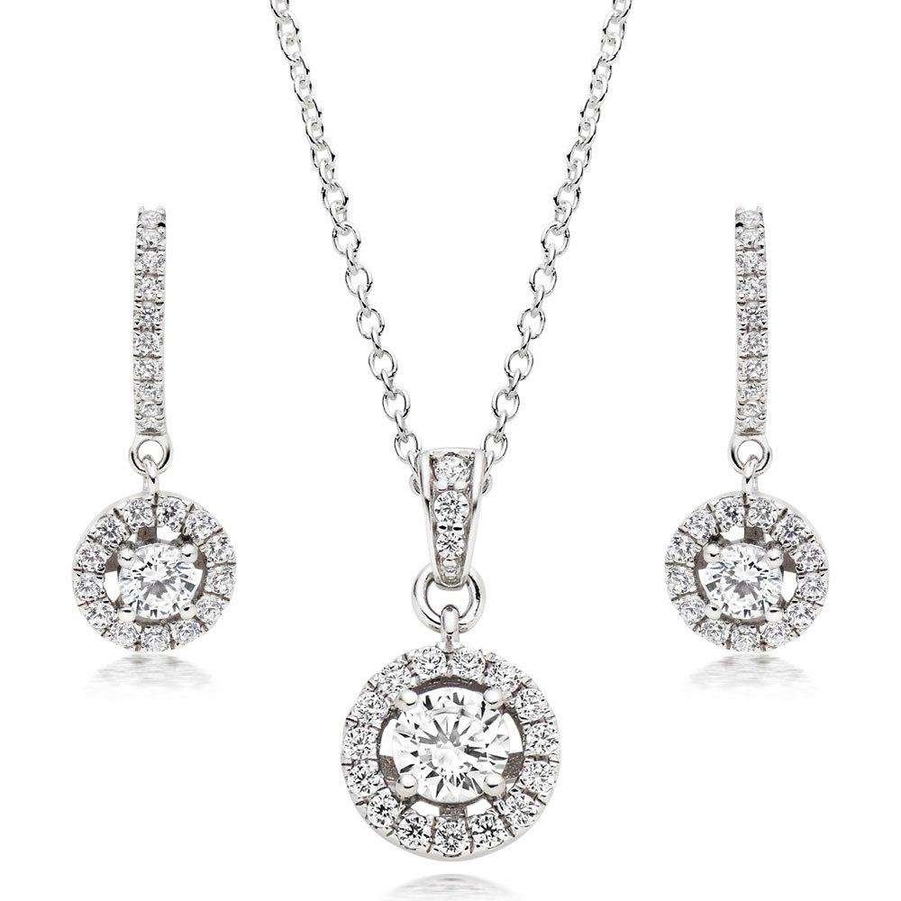 Silver Cubic Zirconia Halo Pendant and Earrings Set