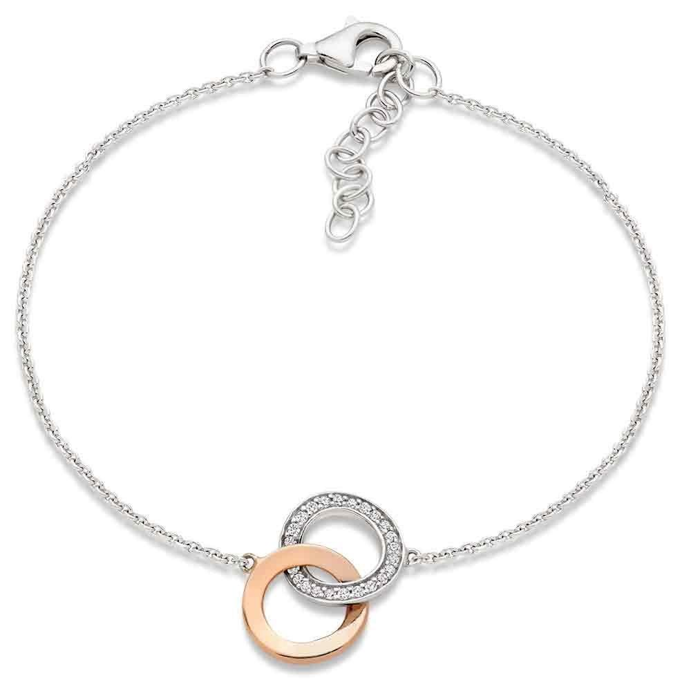 Silver and Rose Gold Plated Cubic Zirconia Double Circle