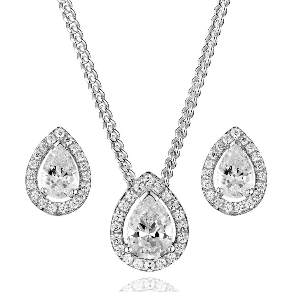 Silver Cubic Zirconia Pear Halo Pendant and Stud Earring