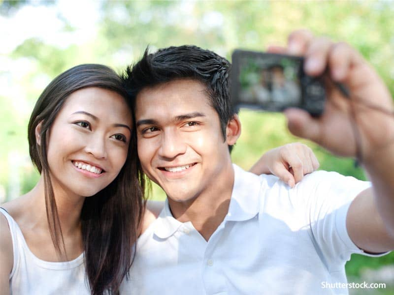 people couple selfie