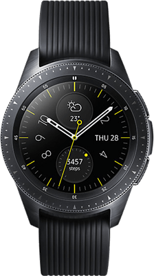 Samsung Galaxy Watch 42mm (4GB Black Refurbished Grade A) on Smartwatch (24 Month(s) contract) with UNLIMITEDMB of 4G data. £18.00 a month.