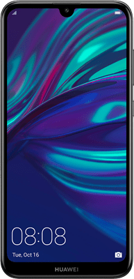 Huawei Y7 2019 (32GB Midnight Black) at £139.99 on Pay As You Go Data Pack with 100 mins; UNLIMITED texts; 6000MB of 4G data. Extras: Top-up required: £10.