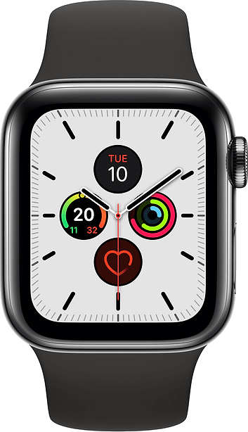 Apple Watch Series 5 40mm (GPS+Cellular) Space Grey Aluminium Case with Black Sport Band on Smartwatch (24 Month(s) contract) with UNLIMITEDMB of 4G data. £28.00 a month.