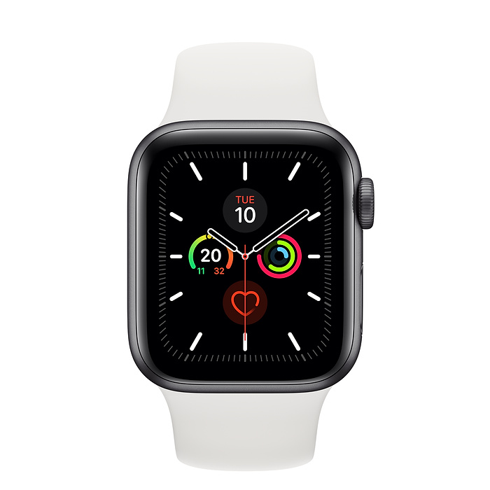 Apple Watch Series 5 44mm (GPS+Cellular) Silver Aluminium Case with White Sport Band at £30.00 on Smartwatch (24 Month(s) contract) with UNLIMITEDMB of 4G data. £28.00 a month.