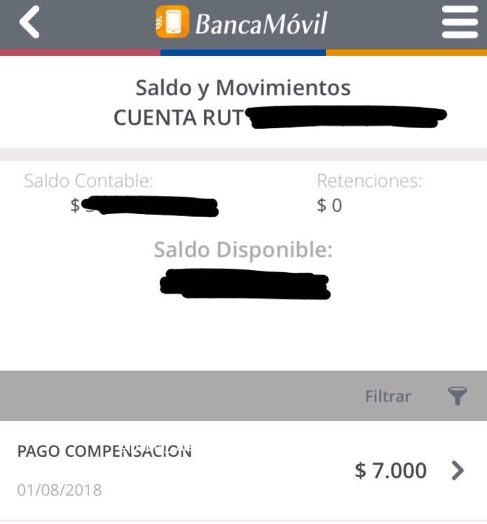 Captura del pago en móvil