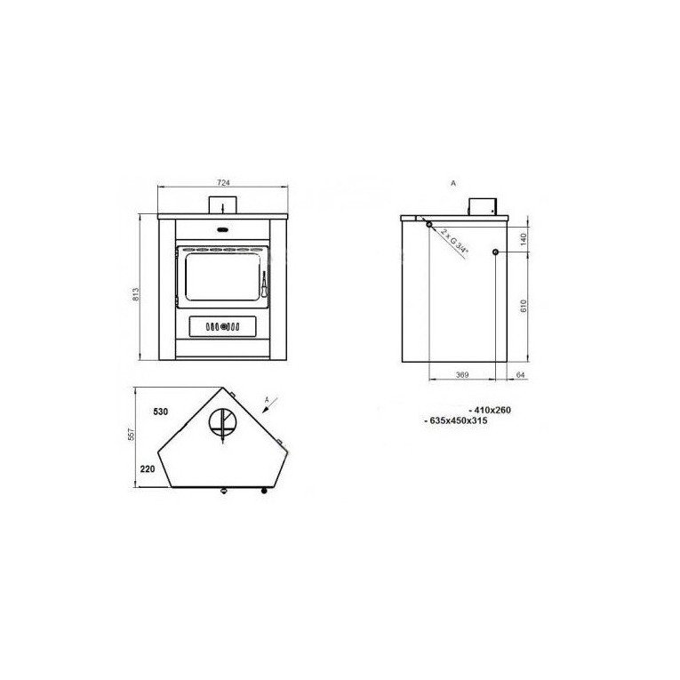 Corner Wood stove, boiler for angle, 18 kW, simple and