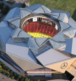 roof of mercedes benz stadium entering final stage of completion atlanta business chronicle [ 1200 x 675 Pixel ]